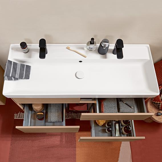 Villeroy & Boch Collaro Doppel-Möbelwaschtisch stone white mit CeramicPlus, mit Überlauf