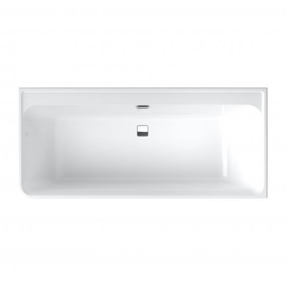 Villeroy & Boch Collaro Eck-Badewanne weiß/weiß, Ab-/Überlaufgarnitur chrom