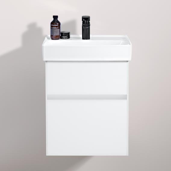 Villeroy & Boch Collaro Handwaschbeckenunterschrank mit 2 Auszügen Front black matt / Korpus black matt, Griffmulde black matt