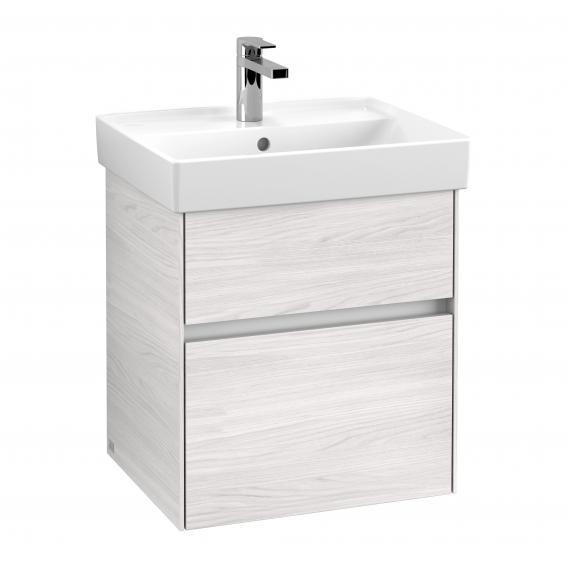 Villeroy & Boch Collaro Handwaschbeckenunterschrank mit 2 Auszügen Front white wood / Korpus white wood, Griffmulde weiß matt