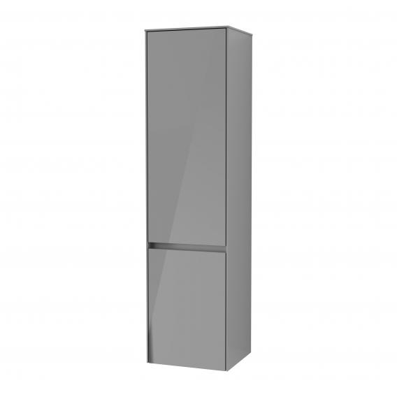 Villeroy & Boch Collaro Hochschrank mit 2 Türen Front glossy grey / Korpus glossy grey, Griffmulde anthrazit matt