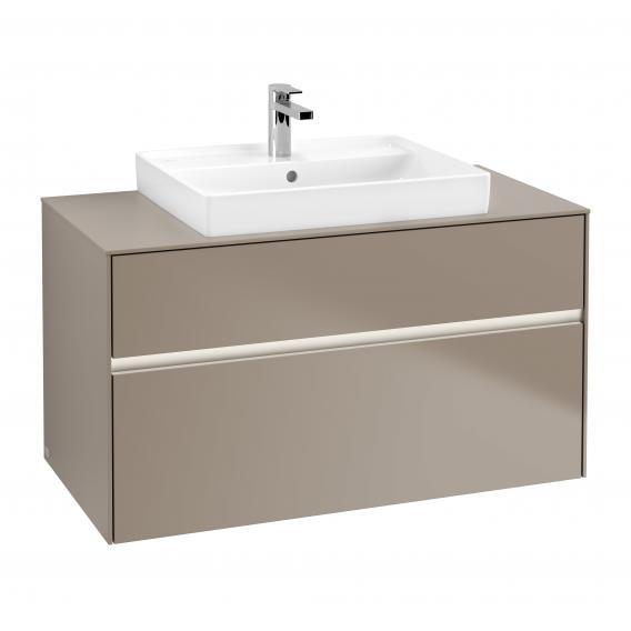 Villeroy & Boch Collaro LED-Waschtischunterschrank mit 2 Auszügen Front truffle grey / Korpus truffle grey, Abdeckplatte truffle grey, Griffmulde truffle grey