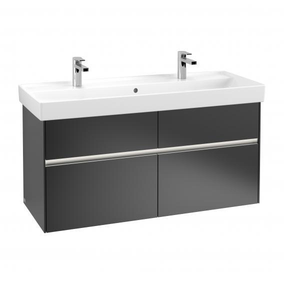 Villeroy & Boch Collaro LED-Waschtischunterschrank mit 4 Auszügen Front black matt / Korpus black matt, Griffmulde black matt