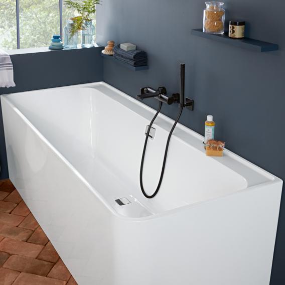 Villeroy & Boch Collaro Rechteck-Badewanne mit Verkleidung weiß/weiß, Ab-/Überlaufgarnitur chrom