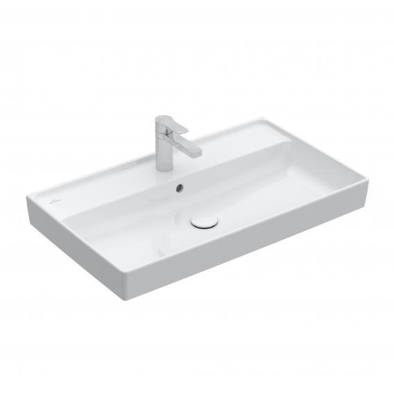 Villeroy & Boch Collaro Schrankwaschtisch weiß mit CeramicPlus, mit 1 Hahnloch, mit Überlauf, geschliffen