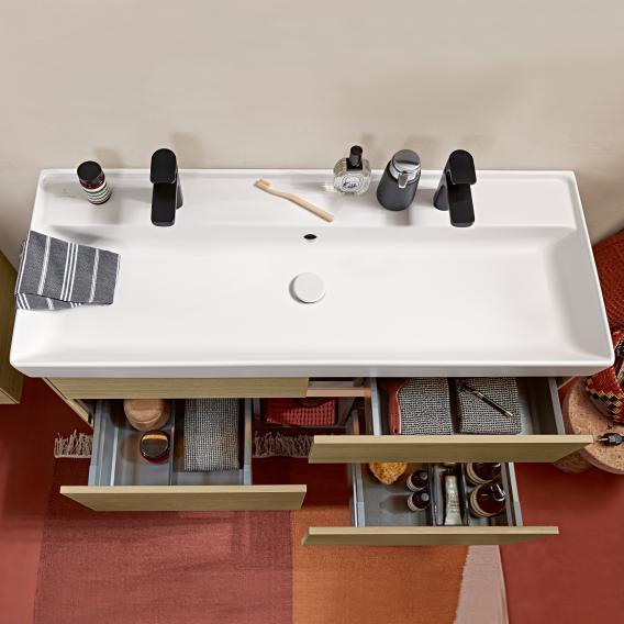 Villeroy & Boch Collaro Waschtischunterschrank mit 4 Auszügen Front glossy grey / Korpus glossy grey, Griffmulde anthrazit matt
