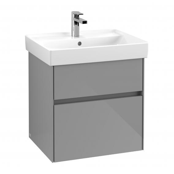 Villeroy & Boch Collaro Waschtischunterschrank mit 2 Auszügen Front glossy grey / Korpus glossy grey, Griffmulde anthrazit matt