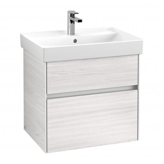 Villeroy & Boch Collaro Waschtischunterschrank mit 2 Auszügen Front white wood / Korpus white wood, Griffmulde weiß matt