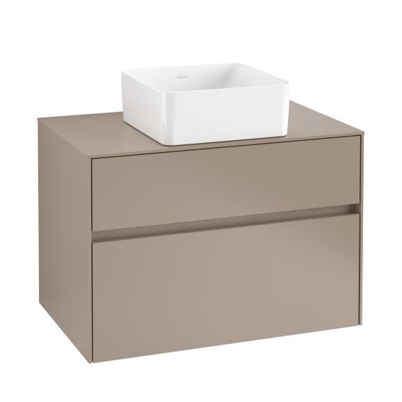 Villeroy & Boch Collaro Waschtischunterschrank mit 2 Auszügen für 1 Aufsatzwaschtisch Front truffle grey / Korpus truffle grey, Abdeckplatte truffle grey, Griffmulde truffle grey