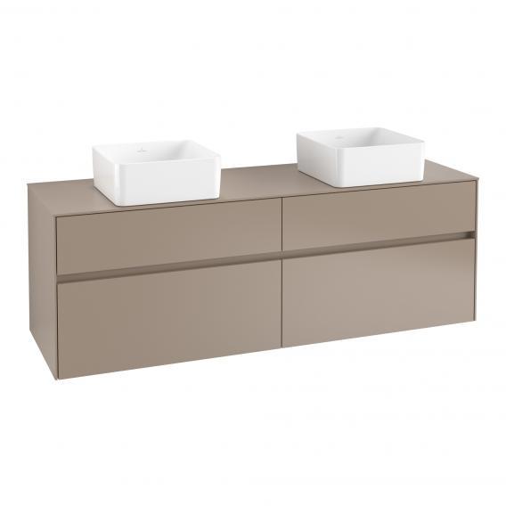 Villeroy & Boch Collaro Waschtischunterschrank mit 4 Auszügen für 2 Aufsatzwaschtische Front truffle grey / Korpus truffle grey, Abdeckplatte truffle grey, Griffmulde truffle grey