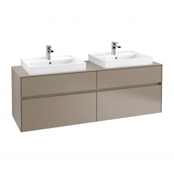Villeroy & Boch Collaro Waschtischunterschrank für 2 Waschtische mit 4 Auszügen Front truffle grey / Korpus truffle grey, Abdeckplatte truffle grey, Griffmulde truffle grey
