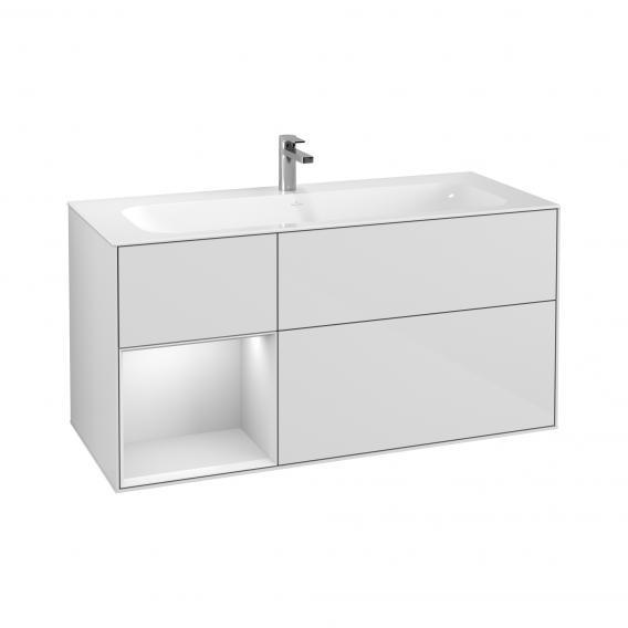 Villeroy & Boch Finion LED-Waschtischunterschrank mit 3 Auszügen, Regalelement links Front glossy white / Korpus glossy white