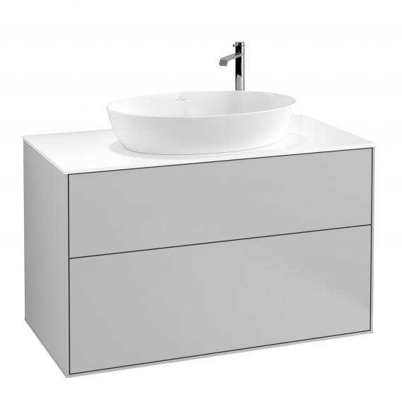 Villeroy & Boch Finion Waschtischunterschrank für Aufsatzwaschtisch mit 2 Auszügen Front light grey matt / Korpus light grey matt, Abdeckplatte white matt