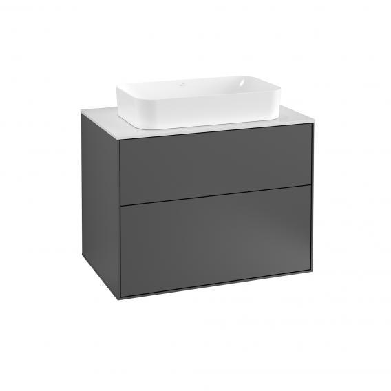 Villeroy & Boch Finion Waschtischunterschrank für Aufsatzwaschtisch mit 2 Auszügen Front anthracite matt / Korpus anthracite matt, Abdeckplatte white matt
