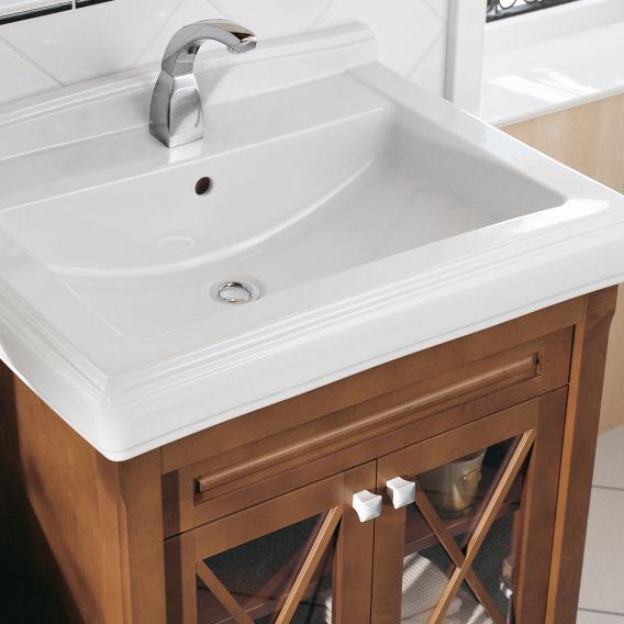 Villeroy & Boch Hommage Waschtischunterschrank mit Waschtisch und 2 Türen Front weiß matt / Korpus weiß matt, weiß mit CeramicPlus, Griff weiß