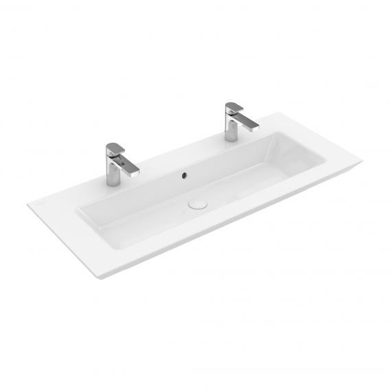 Villeroy & Boch Legato Doppel-Möbelwaschtisch weiß mit CeramicPlus mit 2 Hahnlöchern mit Überlauf