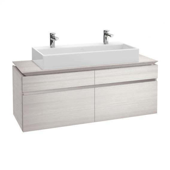 Villeroy & Boch Legato LED-Waschtischunterschrank für Doppelwaschtisch mit 4 Auszügen Front white wood / Korpus white wood