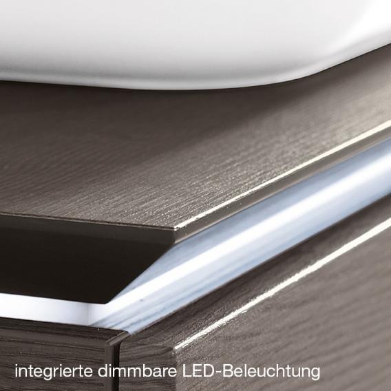 Villeroy & Boch Legato LED-Waschtischunterschrank für 2 Aufsatzwaschtische mit 4 Auszügen Front ulme impresso / Korpus ulme impresso