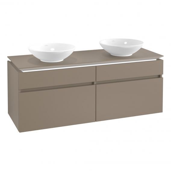 Villeroy & Boch Legato LED-Waschtischunterschrank für 2 Aufsatzwaschtische mit 4 Auszügen Front truffle grey / Korpus truffle grey