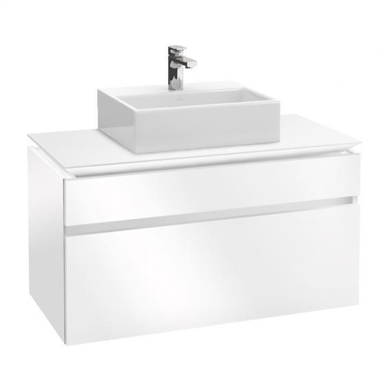 Villeroy & Boch Legato LED-Waschtischunterschrank für Aufsatzwaschtisch mit 2 Auszügen Front glossy white / Korpus glossy white