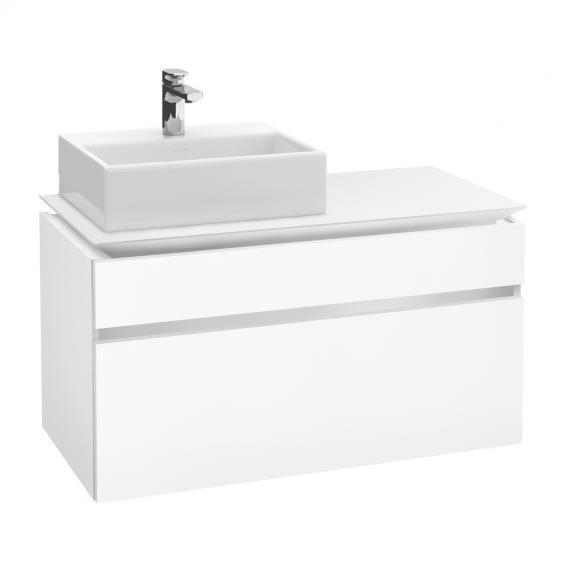 Villeroy & Boch Legato LED-Waschtischunterschrank für Aufsatzwaschtisch mit 2 Auszügen Front weiß matt / Korpus weiß matt