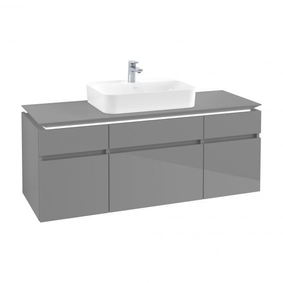 Villeroy & Boch Legato LED-Waschtischunterschrank für Aufsatzwaschtisch mit 5 Auszügen Front glossy grey / Korpus glossy grey