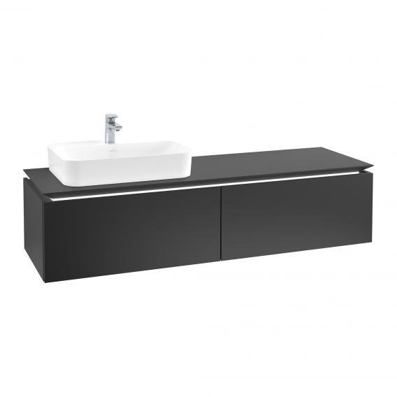 Villeroy & Boch Legato LED-Waschtischunterschrank für Aufsatzwaschtisch mit 2 Auszügen Front black matt / Korpus black matt