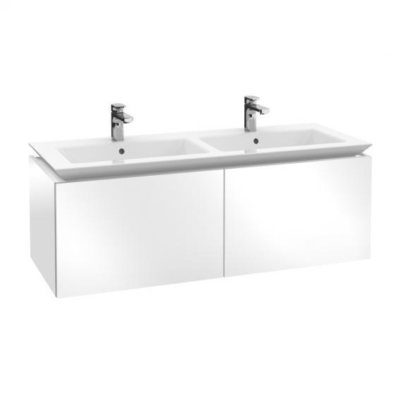 Villeroy & Boch Legato LED-Waschtischunterschrank für Doppelwaschtisch mit 2 Auszügen Front glossy white / Korpus glossy white