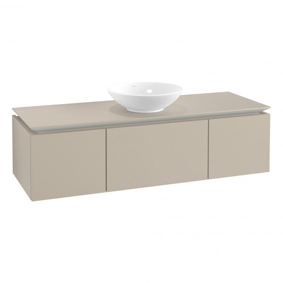 Villeroy & Boch Legato Waschtischunterschrank für Aufsatzwaschtisch mit 3 Auszügen Front soft grey / Korpus soft grey