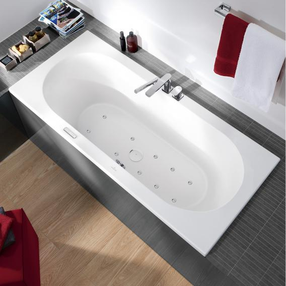 Villeroy & Boch Loop & Friends OVAL Duo Rechteck Badewanne m. Whirlpoolsys., Technikposition 1 weiß mit AirPool Entry