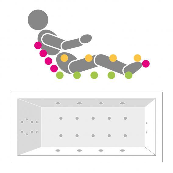 Villeroy & Boch Loop & Friends SQUARE Eck Badewanne, Technikposition 1 weiß mit CombiPool Comfort
