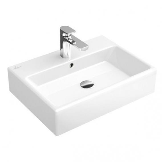 Villeroy & Boch Memento Handwaschbecken weiß mit CeramicPlus, mit 1 Hahnloch, ungeschliffen, mit Überlauf