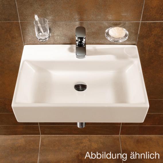 Villeroy & Boch Memento Waschtisch weiß, mit CeramicPlus, mit 1 Hahnloch, ungeschliffen, mit Überlauf