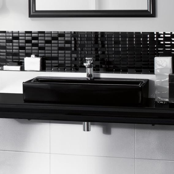 Villeroy & Boch Memento Waschtisch glossy black mit CeramicPlus, mit 1 Hahnloch, geschliffen, mit Überlauf