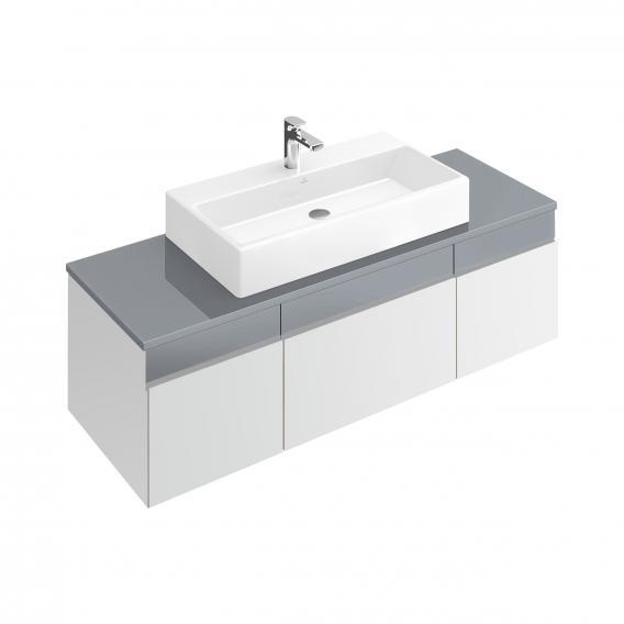 Villeroy & Boch Memento Waschtischunterschrank mit 3 Auszügen und 3 Schubladen Front weiß matt/soft grey / Korpus weiß matt, Glasplatte soft grey