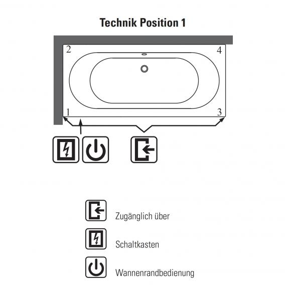 Villeroy & Boch Oberon Duo Rechteck Badewanne mit Whirlpoolsystem weiß mit AirPool Entry