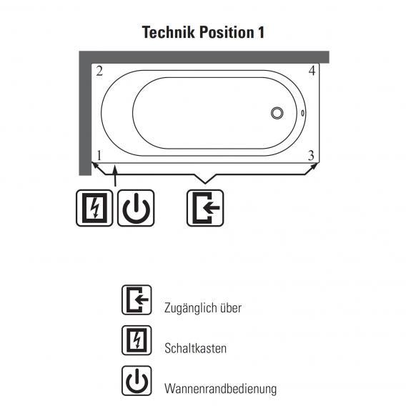 Villeroy & Boch O.novo Duo Rechteck Badewanne mit Whirlpoolsystem weiß mit CombiPool Comfort