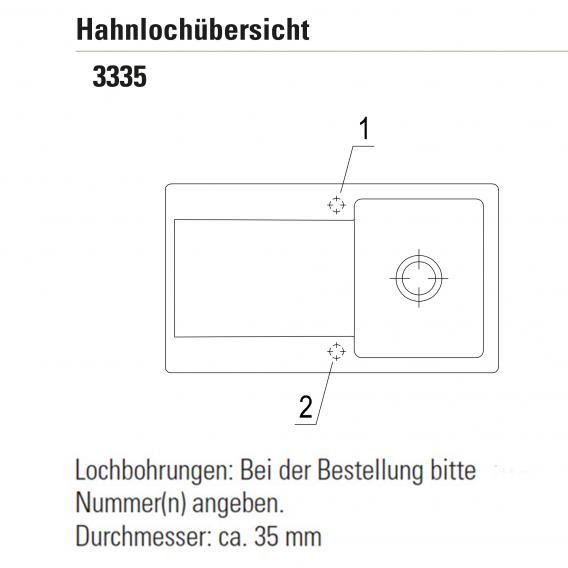 Villeroy & Boch Siluet 50 Flat Spüle flächenbündig mit Abtropffläche und Excenterbetätigung weiß alpin hochglanz/Position Lochbohrung 2