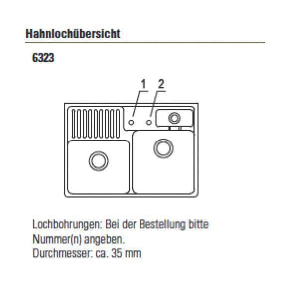 Villeroy & Boch Spülstein Doppelbecken mit Excenterbetätigung B: 89,5 T: 63 cm weiß alpin hochglanz/Position Lochbohrungen 1 und 2