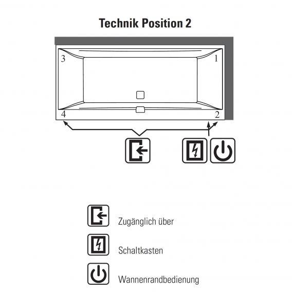 Villeroy & Boch Squaro Edge 12 Duo Rechteck Badewanne mit Whirlpoolsystem weiß mit Special CombiPool Active