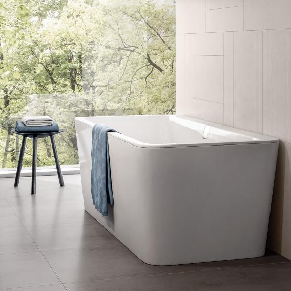 Villeroy & Boch Squaro Excellence Duo freistehende Badewanne weiß mit integriertem Wassereinlauf