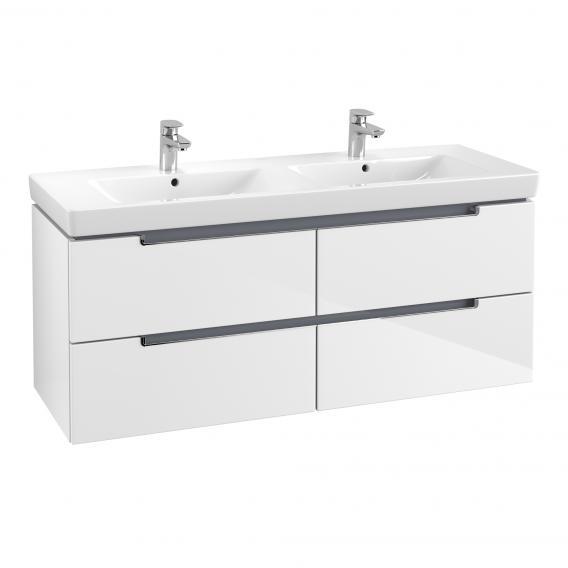 Villeroy & Boch Subway 2.0 Doppelwaschtisch mit Waschtischunterschrank mit 4 Auszügen weiß, mit CeramicPlus, mit Überlauf