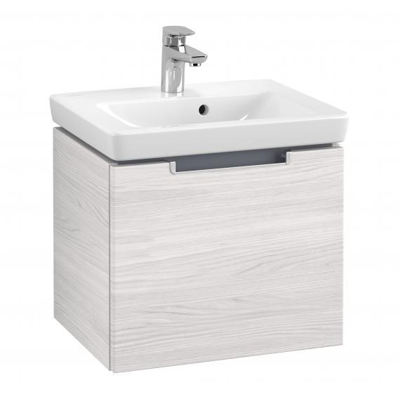 Villeroy & Boch Subway 2.0 Handwaschbeckenunterschrank mit 1 Auszug Front white wood / Korpus white wood, Griff silber matt