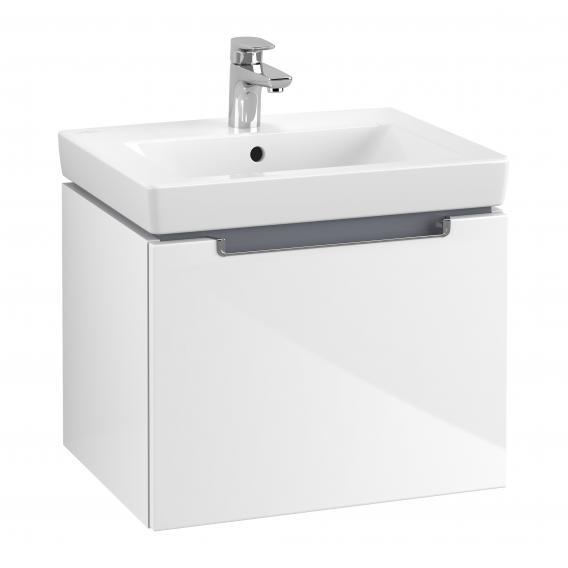 Villeroy & Boch Subway 2.0 Waschtischunterschrank mit 1 Auszug Front glossy white / Korpus glossy white, Griff chrom