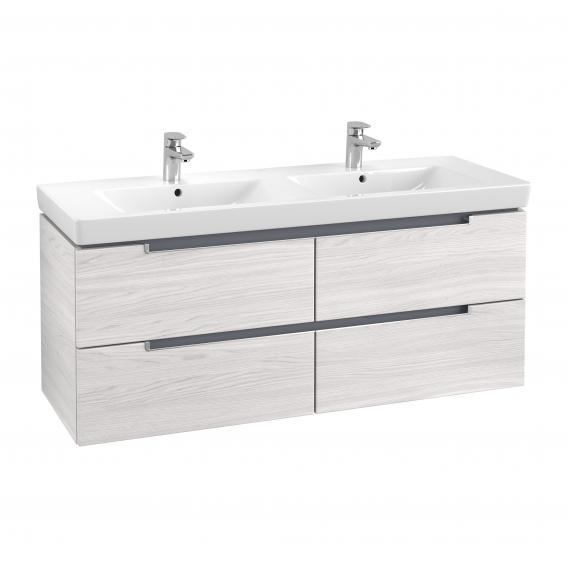 Villeroy & Boch Subway 2.0 Waschtischunterschrank XL für Doppelwaschtisch mit 4 Auszügen Front white wood / Korpus white wood, Griff silber matt