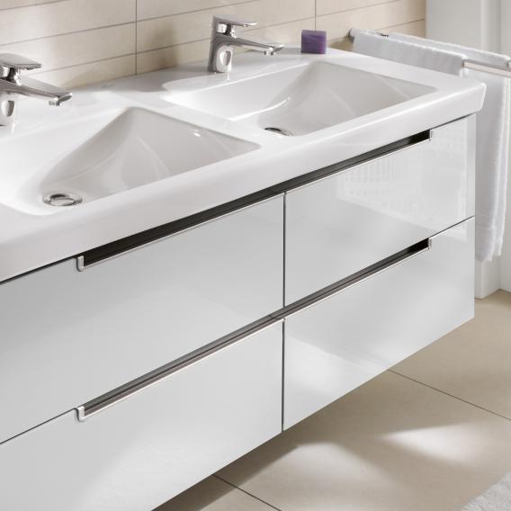Villeroy & Boch Subway 2.0 Waschtischunterschrank XL für Doppelwaschtisch mit 4 Auszügen Front eiche gaphit / Korpus eiche graphit, Griff silber matt