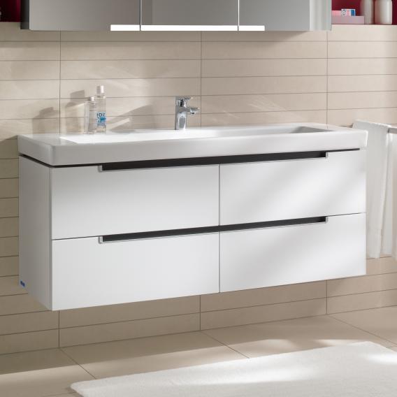 Villeroy & Boch Subway 2.0 Waschtischunterschrank XL mit 4 Auszügen Front weiß matt / Korpus weiß matt, Griff silber matt
