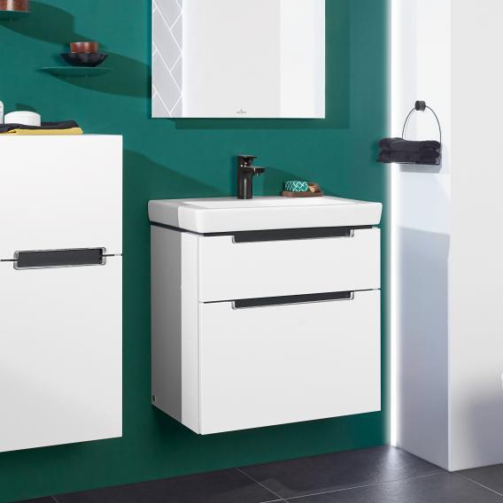 Villeroy & Boch Subway 2.0 Waschtischunterschrank XXL mit 2 Auszügen Front weiß matt / Korpus weiß matt, Griff chrom