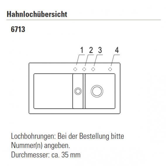 Villeroy & Boch Subway 50 Flat Spüle mit Excenterbetätigung B: 88 T: 47,5 cm creme glanz/Position Hahnloch 1