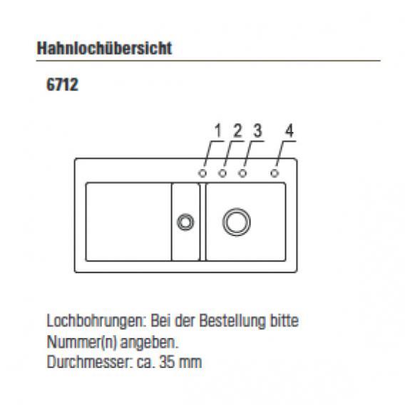 Villeroy & Boch Subway 60 Spüle mit Excenterbetätigung B: 100 T: 51 cm, Becken rechts ebony/Position Lochbohrungen 1 und 2